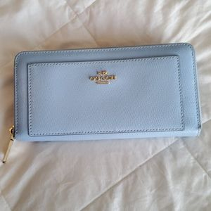 COACH F52648 Blue Leather Zip Around Wallet